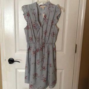 Dresses & Skirts - Grayish/bluish floral print dress, capped sleeves